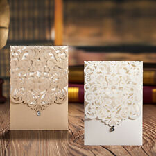 Laser Cut-out Floral Wedding Invitation Cards With Rhinestone & Envelopes, Seals