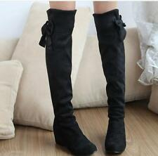 Chic Faux suede wedge heels round toe bowknot knee high boots Womens Shoes
