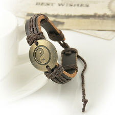 Wrap Leather Yin Yang Infinity Bracelet Men Womens Multilayers Chain Jewelry