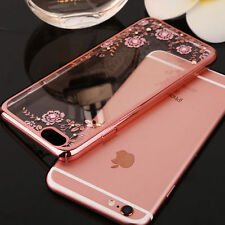 Rose Gold Flower Clear Diamond Shockproof TPU Silicone Gel Phone Case Cover Skin