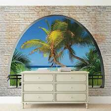 Beach Tropical Island Window View WALL MURAL PHOTO WALLPAPER (2834DK)