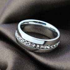 Titanium Steel Ring With Clear Swiss Cubic Zirconia Crystals (R797-39)