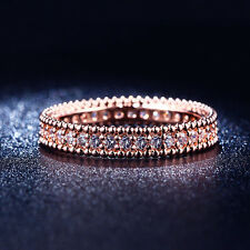 18K Rose Gold Plated Simple Classic Ring Made W/Swiss Cubic Zirconia (R718-35)