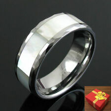 Tungsten Wedding Band Ring Mother of Pearl Inlay Size 9-15 (Half Sizes Avail.)