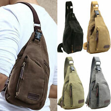 Mens Small Canvas Military Messenger Shoulder Travel Hiking Sports Bag Backpack