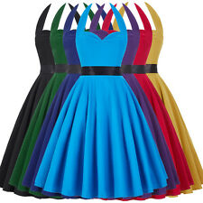 Girls Womens Vintage Retro Halter Swing Pinup Housewife 50's Evening Party Dress