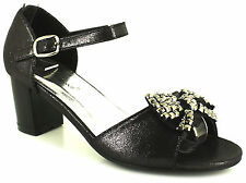 New Older Girls/Childrens Black Fashion Sandals With Buckle Fastening. UK SIZES