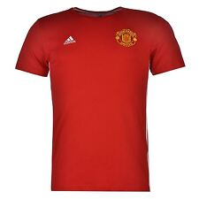 Adidas Manchester United 3 Stripe T-Shirt Mens Red Football Soccer Top Tee Shirt