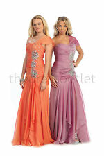 Long Prom Dresses One Shoulder Sequins Chiffon Plus Size Formal Evening Gown