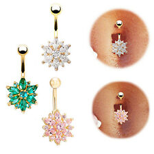 1Pc Belly Button Ring Crystal Rhinestone Flower Jewelry Navel Bar Body Piercing