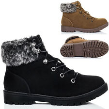Womens Lace Up Cleated Sole Shearling Flat Walking Hiking Ankle Boots Shoes Sz 3