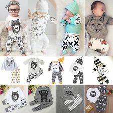 Toddler Baby Girls Boys Clothes Long Sleeve T-shirt+Pants Cotton Outfit Bodysuit
