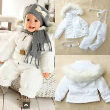 Baby Toddler Boy Girl Winter White Warm Snowsuit Jacket Outfits+Pant Clothes Set