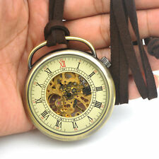 Mens Skeleton Pocket Watch Mechanical Movement Hand Wind Roman Numerals Vintage