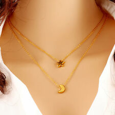 Korean Star Moon Pendant Bib Chain Long Necklace Gold Filled Charm Layered