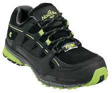 Nautilus Mens Steel Toe ESD Athletic M Black/Lime Action Leather Shoes