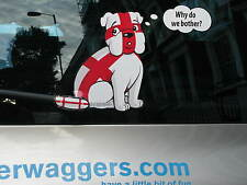 DEPRESSED ENGLAND SUPPORTERS BULLDOG CAR STICKER COLLECTIBLE WITH WIPER TAIL