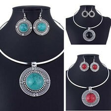Necklace Earrings Women Sets For Sets Round Vintage Jewelry Fashion Turqoise