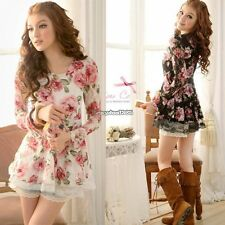 Women New Long Sleeve Rose Flower Shirts Blouses Prints Lace Casual Tops ED