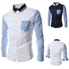 New Men's Fashion Casual Slim Fit Splicing Long Sleeve Shirt Button-Front Tops