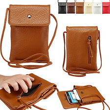 Fashion Cell Phone Purse PU Leather Zipper Bag Cover Case Handbag Shoulder Pouch