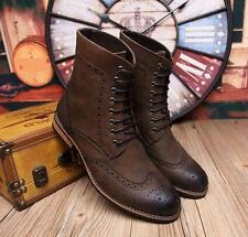 MENS OXFORD BROGUE LACE UP ANKLE BOOTS WINGTIP CASUAL DRESS CHUKKA carving SHOES