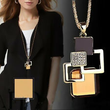 Fashion Hollow Crystal Stone Jewelry Pendant Golden Women Geometric Necklace