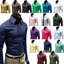 Mens Luxury Stylish Business Casual Dress Slim Fit Shirt Long Sleeve T-shirt Top