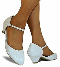 New Ladies Bridal Low Small Heel Ivory Ankle Strap Floral Lace Court Shoes-524