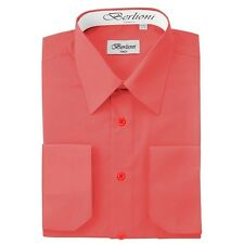 Berlioni Italy Solid Mens Dress Shirt Italian French Convertible Cuff - Coral