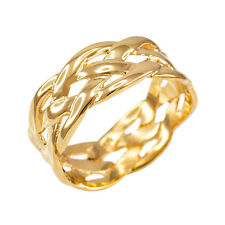 14k Solid Yellow Gold Celtic Braided Weave Wedding Band Ring