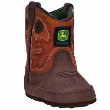 Johnny Popper Crib Boys Rust Leather Broad Sq Toe Pull-On Cowboy Boots