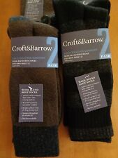 2 PAIR MENS CROFT&BARROW COLD WEATHER WOOL BLEND BOOT SOCKS FITS SHOE SIZES 7-12