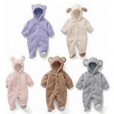 1x Baby Romper Hooded Suit Fleece Animal Babygro Bear Lovely Fluffy Soft AGR