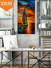 Colourful Boat Sunset Costal Canvas Large Print Wall Art Framed and Unframed