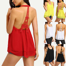2016 Stylish Women Lady Summer Vest Top Sleeveless Blouse Halter Chiffon Shirts