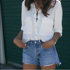 ZARA white safari lace-up shirt with snap closure sold out bloggers S XL