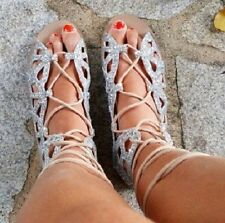 ZARA Silver Roman Lace-up Flat Sandals New Sold out Bloggers ALL SIZES