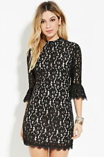 Forever 21 Boho Black Nude Floral Mock-Neck Lace Dress Small S