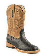 Roper Youth Boys Square Toe Black Faux Ostrich Leather Western Cowboy Boots