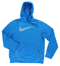 Nike Mens Therma Fit Knockout Swoosh Blur Hoodie Sky Blue
