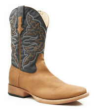 Roper Mens Square Toe Tan Faux Leather Western Cowboy Boots