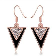 Vintage Women 18K Gold Plated GP Swarovski Crystal Dangle Triangle Club Earring