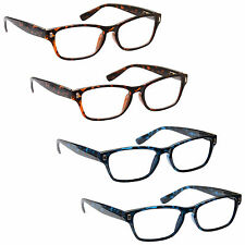 UV Reader Reading Glasses 4 Packs Wayfarer Style Mens Womens