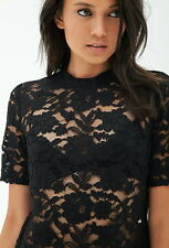FOREVER 21 Black Sheer Lace Floral Top Small S