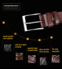 Leather Cowhide Waist Belt Alloy Pin Buckle Waistband Idea Gift for Men Strap
