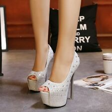6.1inch Stiletto Rhinestone Platform High Heels Peep Toe Pump Party Womens Shoes