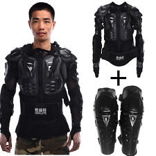 Motorcycle Body Protective Jacket Spine Chest+Knee Pad Gear Offroad Racing Armor