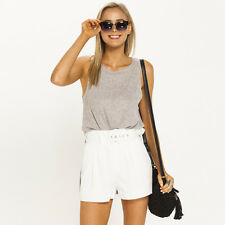 New Mooloola Allure Belted Shorts in White | Womens Shorts