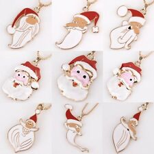 Merry Christmas Santa Claus Golden Pendant Necklace Sweater Long Chain Jewelry